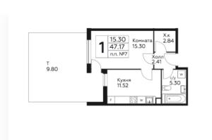 Планировка 1-комнатной квартиры в Южное Бунино - тип 2